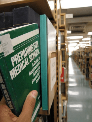 A prep book in the library