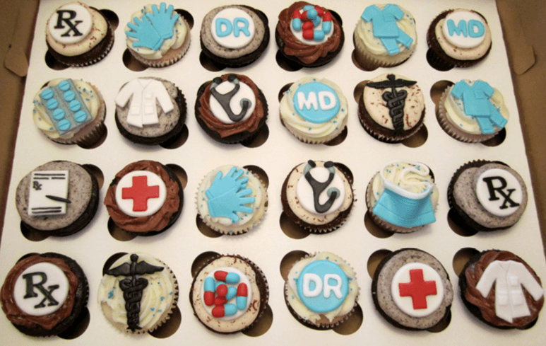cupcakes decorated with medical symbols