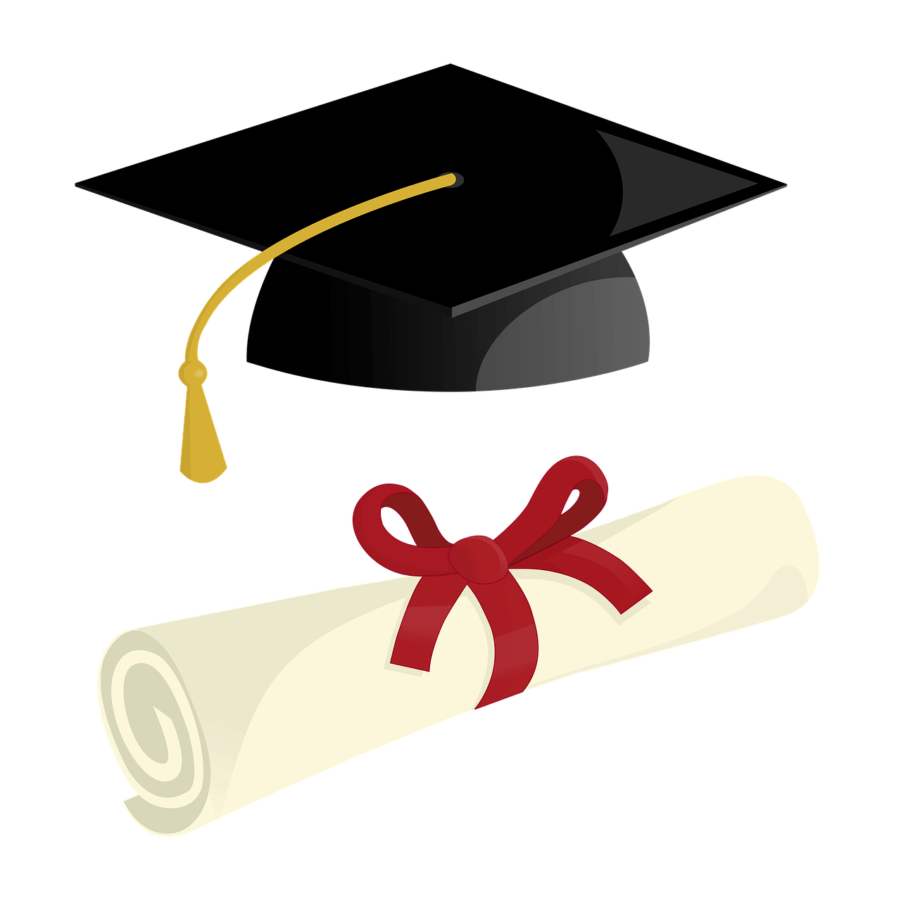 a diploma and a cap