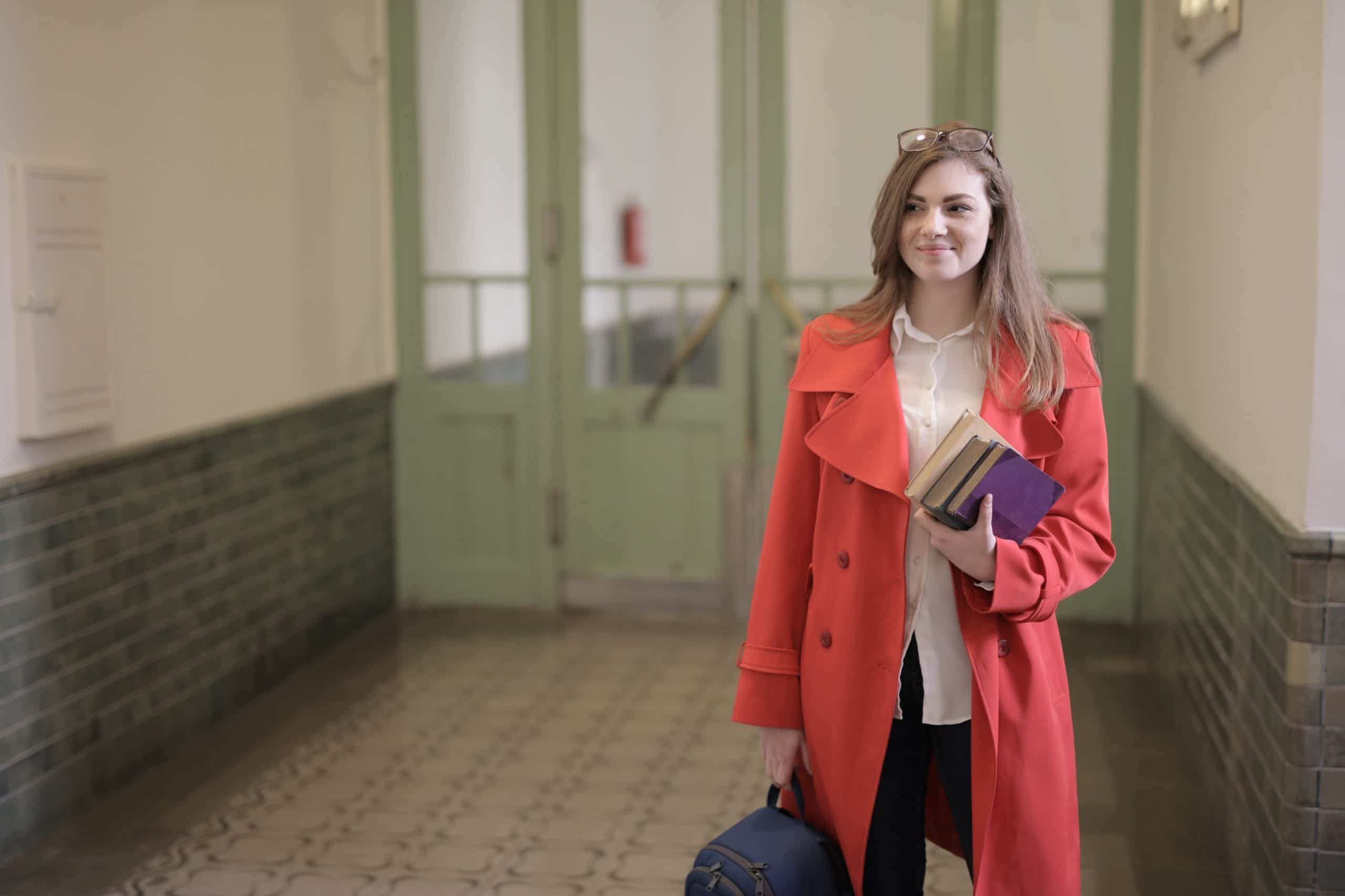 A girl in a red coat