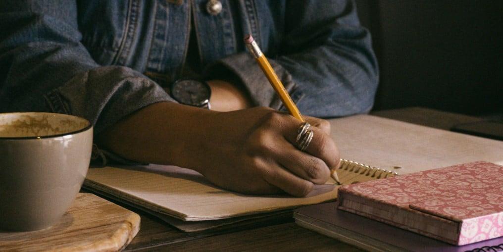 yellow pencil writing