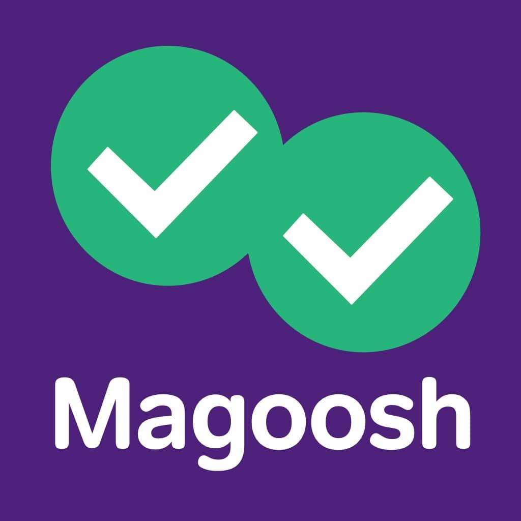 Magoosh purple and green logo